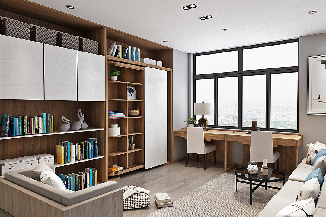 Revolving Bookcase Murphy Bed