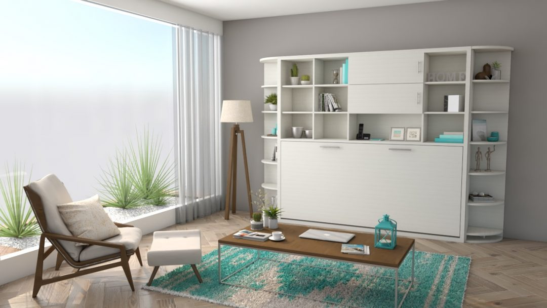 Horizontal Tilting Bed with Bookcase